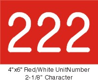 4x6 Red/White UnitNumber